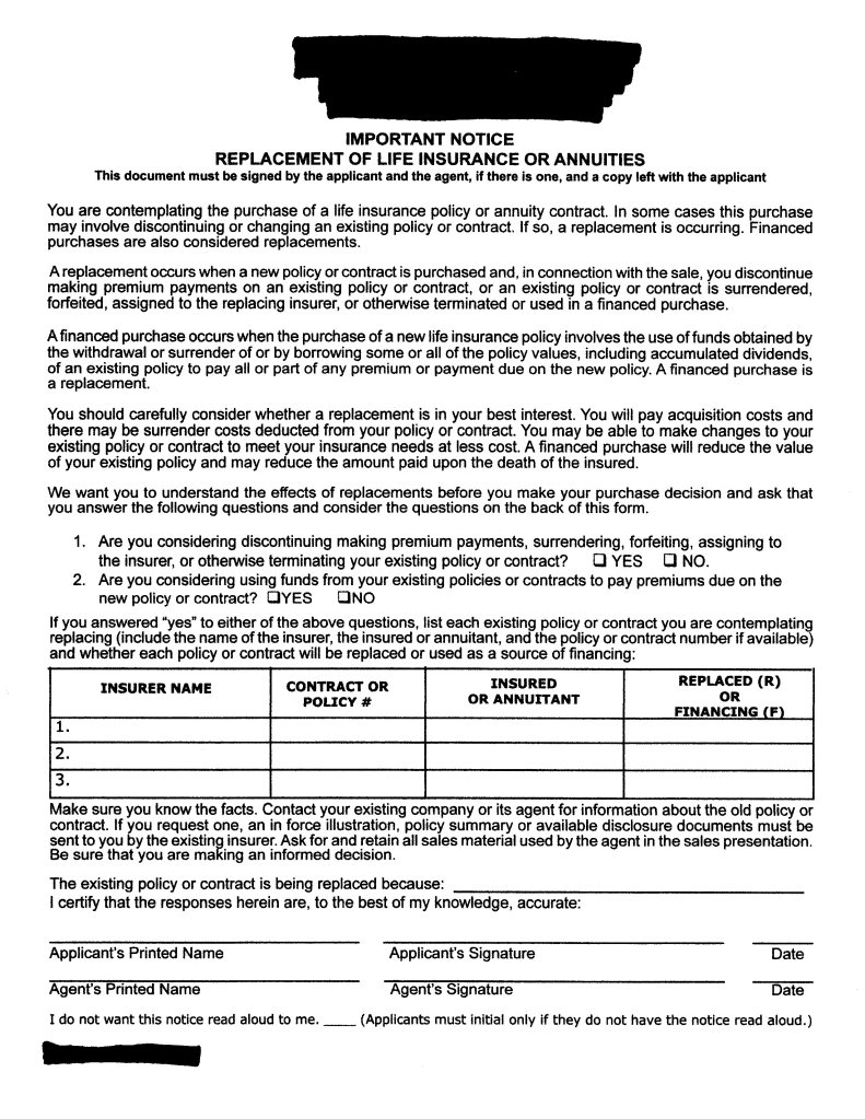 First page of standardized replacement form used in Texas
