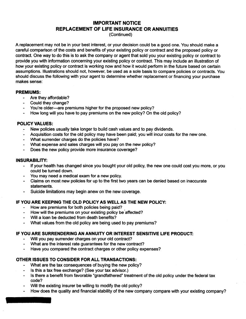Second page of standardized replacement form used in Texas
